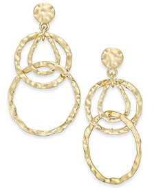 I.N.C. Gold-Tone Hammered Circles Drop Earrings, Created for Macy's
