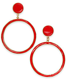 I.N.C. Gold-Tone Enamel Gypsy Hoop Earrings, Created for Macy's