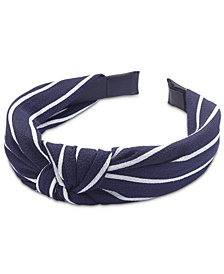 I.N.C. Stripe-Print Chiffon Knotted Headband, Created for Macy's
