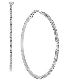 Thalia Sodi Silver-Tone Crystal Pavé Large Hoop Earrings, Created for Macy's