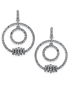 I.N.C. Medium Silver-Tone Pavé Rondelle Bead Double-Row Drop Hoop Earrings, Created for Macy's
