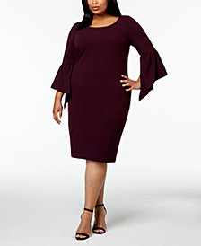 Calvin Klein Plus Size Asymmetrical Bell-Sleeve Sheath Dress
