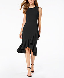 Calvin Klein Crisscross Ruffle Sheath Dress