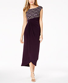 Connected Petite Contrast-Lace Draped Gown