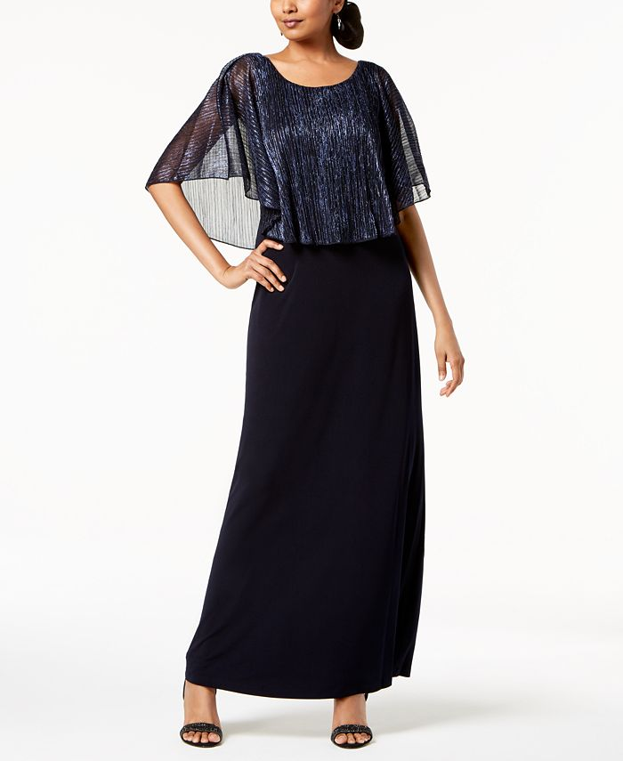 Connected - Metallic-Capelet Gown