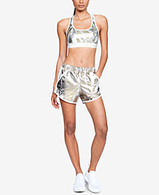 Under Armour Metallic Cross-Back Sports Bra & Fly By Shorts
