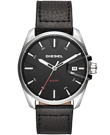 Men's MS9 Black Leather Strap Watch 44mm