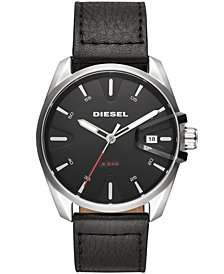 Diesel Men's MS9 Black Leather Strap Watch 44mm