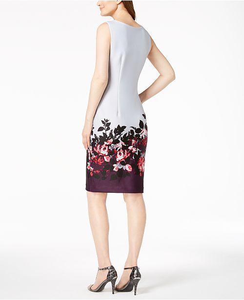b7a205000ef Calvin Klein Border-Print Scuba Sheath Dress, Regular & Petite ...