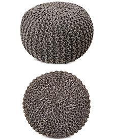 Hallmart Collectibles Chunky-Knit Pouf Ottoman, Created for Macy's