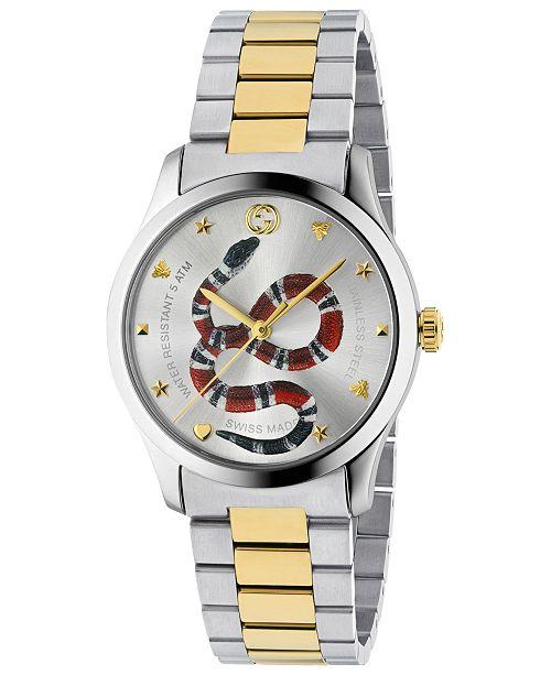 1bfce58137e ... 38mm  Gucci Men s Swiss G-Timeless Two-Tone Stainless Steel Bracelet  Watch ...