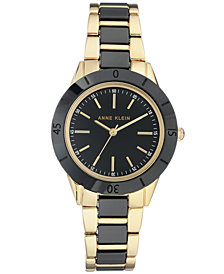 Anne Klein Gold-Tone & Black Ceramic Bracelet Watch 34mm