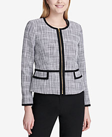 Calvin Klein Petite Tweed Zip-Up Frame Jacket