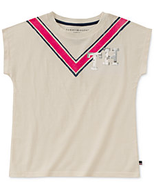 Tommy Hilfiger Big Girls Chevron Cotton T-Shirt