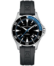 Hamilton Men's Swiss Automatic Khaki Navy Scuba Black Rubber Strap Watch 40mm