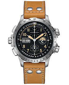 Hamilton Men's Swiss Automatic Chronograph Khaki X-Wind Beige Leather Strap Watch 45mm - a Limited Edition
