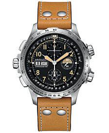 Hamilton Men's Swiss Automatic Chronograph Khaki X-Wind Beige Leather Strap Watch 45mm - a Limited Edition