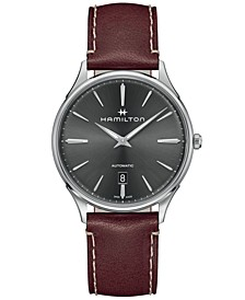 Men's Swiss Automatic Jazzmaster Thinline Red Leather Strap Watch 40mm