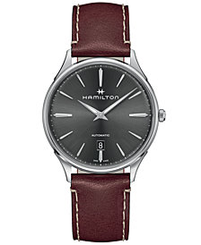 Hamilton Men's Swiss Automatic Jazzmaster Thinline Red Leather Strap Watch 40mm