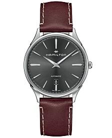 Hamilton Men's Swiss Automatic Jazzmaster Thinline Red Leather Strap Watch 40mm