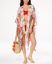 Cejon Printed Tassel Kimono & Cover-Up
