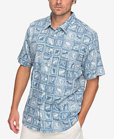 Quiksilver Men's Waterman Highrise Sekgmaster Textured Graphic-Print Pocket Shirt