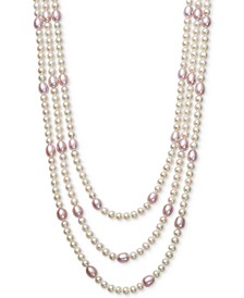 White & Pink Cultured Freshwater Pearl (5 & 7mm) Triple Strand Collar Necklace