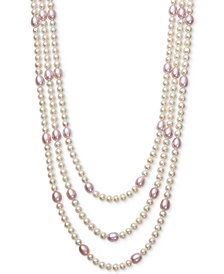 Belle de Mer White & Pink Cultured Freshwater Pearl (5 & 7mm) Triple Strand Collar Necklace