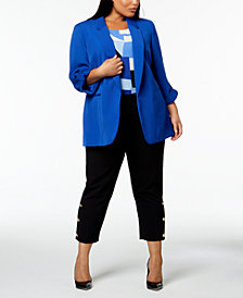 Nine West Plus Size Utility Blazer, Printed Shell & Slim-Leg Pants