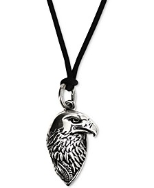 "Men's Eagle Black Cord 24"" Pendant Necklace in Sterling Silver"