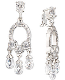 Carolee Silver-Tone Cubic Zirconia Clip-On Chandelier Earrings