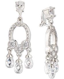 Carolee Silver-Tone Cubic Zirconia Clip-On Chandelier Earrings