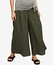 Maternity Pleated Wide-Leg Soft Pants