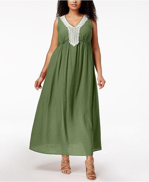 Petite Plus Size Crochet-Trim Maxi Dress