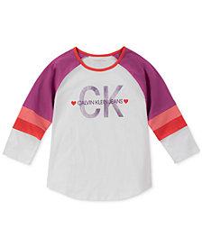 Calvin Klein Big Girls Cotton Colorblocked Raglan T-Shirt