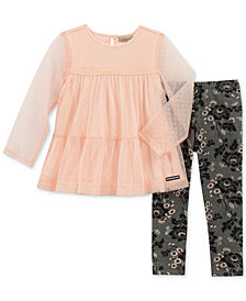 Calvin Klein Little Girls 2-Pc. Layered-Look Tunic & Leggings Set