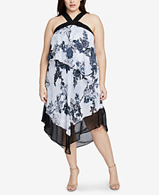 RACHEL Rachel Roy Plus Size Printed Halter Dress