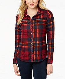 Polly & Esther Juniors' Lattice-Trim Plaid Button-Up Shirt