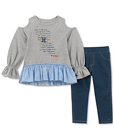 Tommy Hilfiger Little Girls 2-Pc. Printed Tunic & Denim Leggings Set