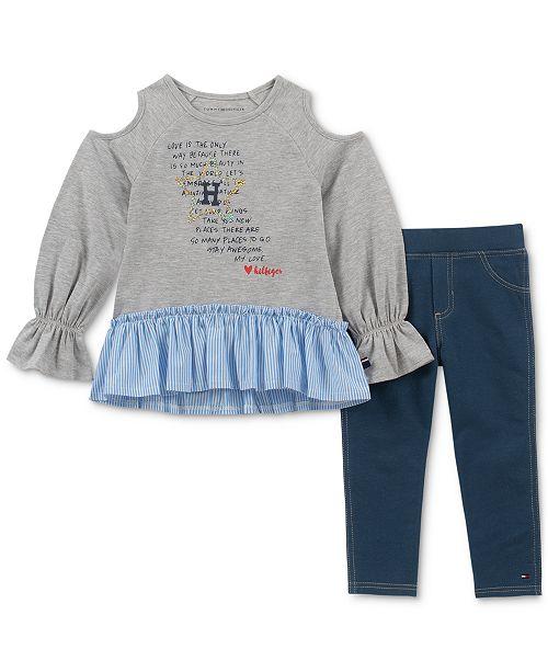 d60fb4c2630 Tommy Hilfiger Little Girls 2-Pc. Printed Tunic & Denim Leggings Set ...