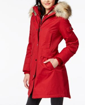 Image of 1 Madison Expedition Faux-Fur-Trim Hooded Parka Coat