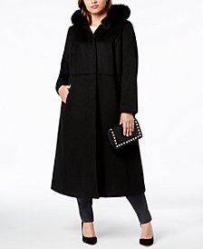 Forecaster Plus Size Fox-Fur-Trim Hooded Maxi  Coat