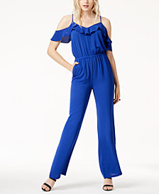 Bar III Cold-Shoulder Jumpsuit, Created for Macy's