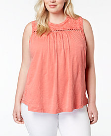 Lucky Brand Trendy Plus Size Cotton Embroidered Button-Back Tank Top