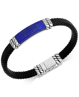 Effy Collection Effy Men S Lapis Lazuli Leather Braided Bracelet In
