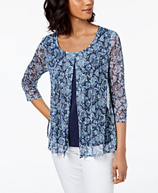 NY Collection Petite Printed Split-Front Mesh Top