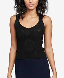 RACHEL Rachel Roy Strappy Open-Knit Top, Created for Macy's
