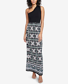 RACHEL Rachel Roy One-Shoulder Contrast Maxi Dress, Created for Macy's