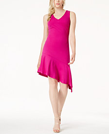 Bar III Sleeveless Asymmetrical-Hem Dress, Created for Macy's