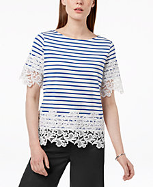 Tommy Hilfiger Striped Lace-Trim Top, Created for Macy's